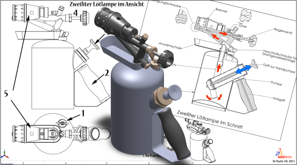Blowtorch 3d model, SolidWorks