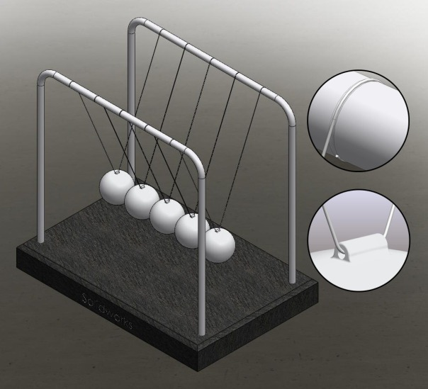 Newton's Cradle, Solidworks, 3d, Newton's Pendulum