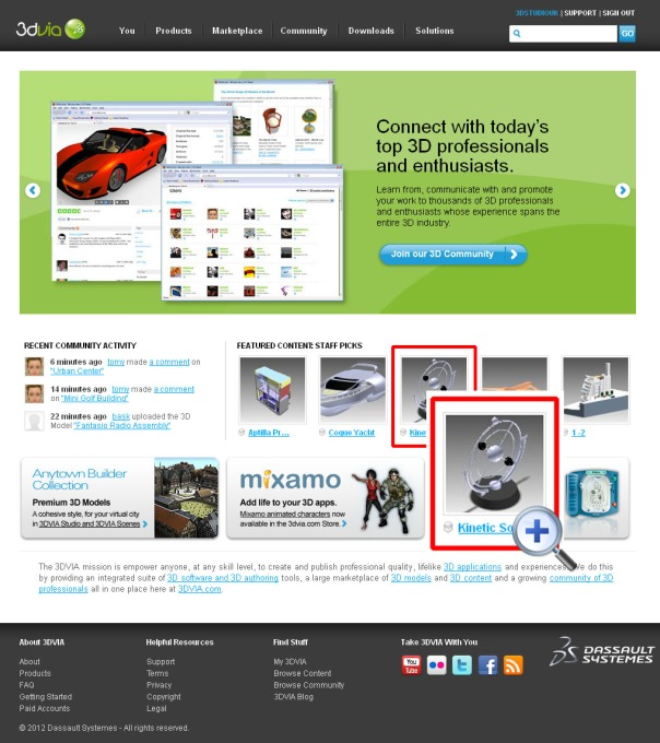 www.3dvia.com, featured content