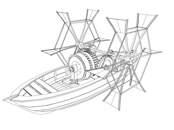 Paddle Boat, Leonardo Da Vinci, Barca a Pale