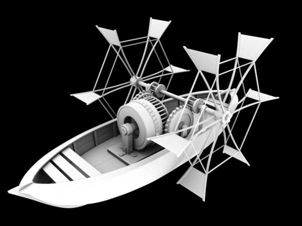Paddle Boat, Da Vinci, 3d