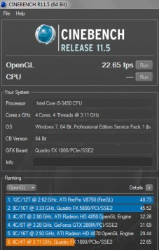 Cinebench Results,nVidia Quadro Benchmark